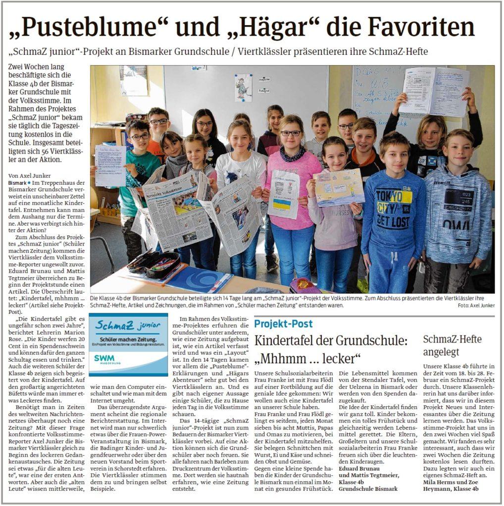 Die Klasse 4b der Bismarker Grundschule präsentieren ihre SchmaZ-Hefte. Ein Beitrag der Stendaler und Osterburger Volksstimme am 13.03.2020.