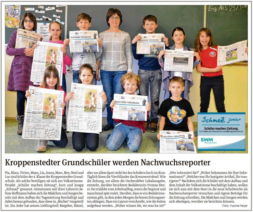 Die Kroppenstedter Grundschüler werden Nachwuchsreporter. Ein Beitrag in der Oschersleber und Wanzleber Volksstimme am 10.03.2020.