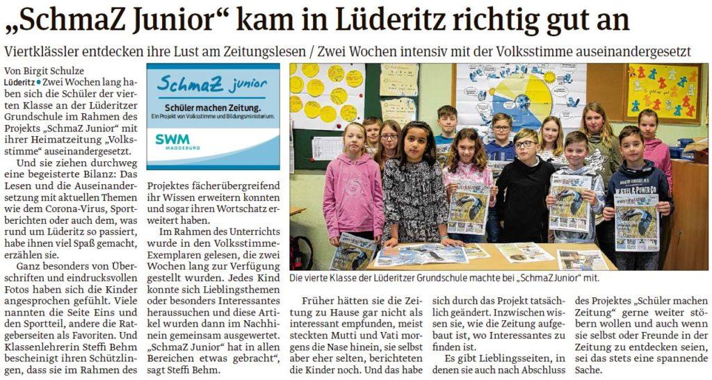 Die Viertklässler Lüderitzer Grundschule entdeckten ihre Lust am Zeitungslesen. Ein Beitrag der Stendaler Volksstimme 04.03.2020