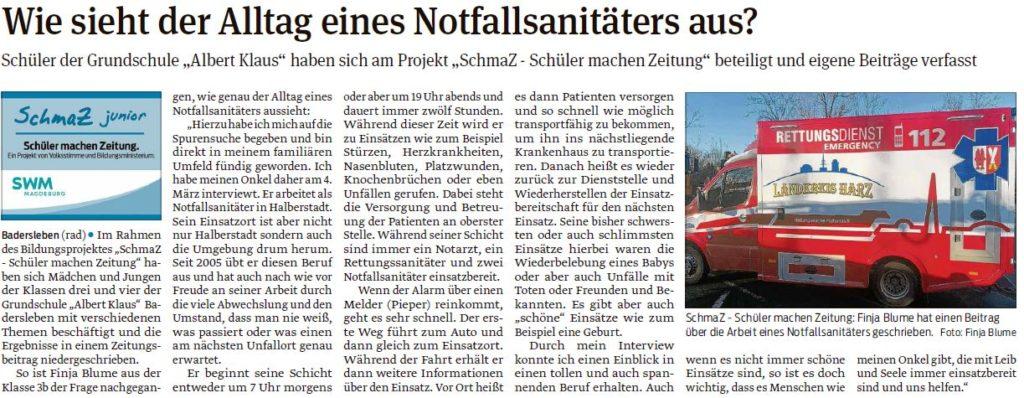 """Die Schüler der Grundschule """"Albert Klaus"""" in Badersleben haben eigene Artikel geschrieben. Ein Beitrag der Halberstädter Volksstimme am 21.03.2020."""