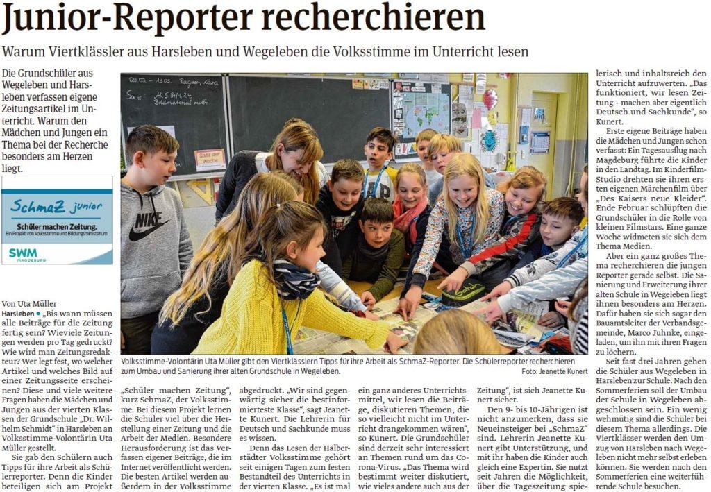 """Die Schüler der Grundschule """"Dr. Wilhelm Schmidt"""" in Harsleben bekamen von Volontärin Uta Müller. Ein Beitrag der Halberstädter Volksstimme am  13.03.2020."""