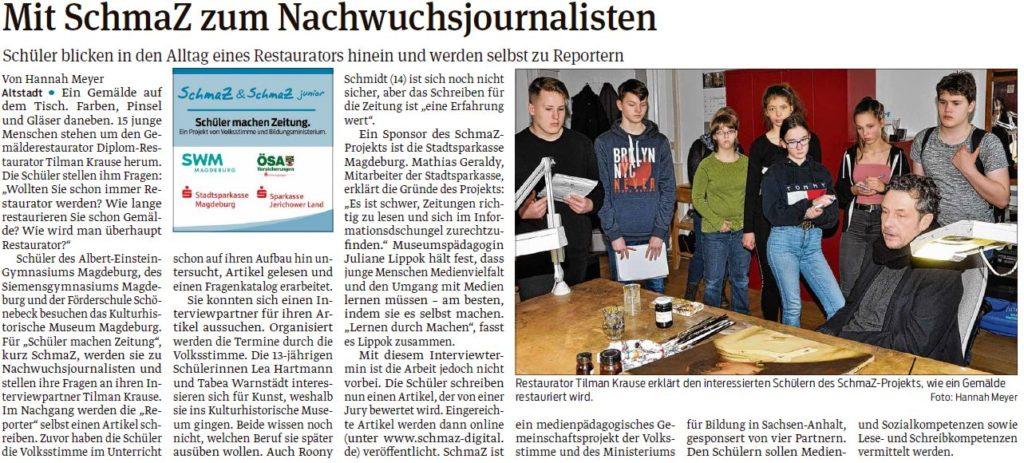 15 Schüler nahmen am Angebot der Stadtsparkasse Magdeburg teil und besuchten das Kulturhistorische Museum. Ein Beitrag der Magdeburger Volksstimme am 13.03.2020.