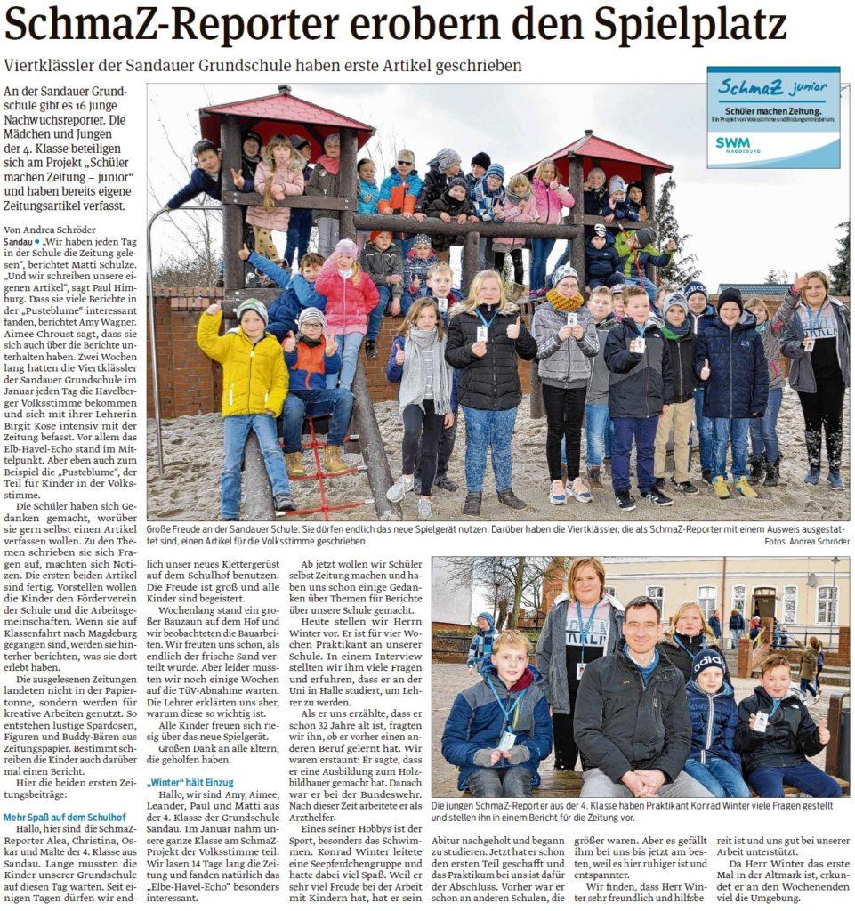 Viertklässler der Sandauer Grundschule haben erste Artikel geschrieben. Ein Beitrag der Havelberger Volksstimme am 07.03.2020.