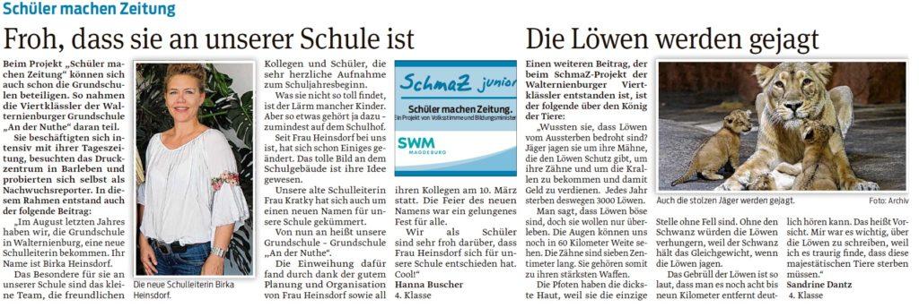 """Artikel der Viertklässer der Walternienburger Grundschule """"An der Nuthe"""". Ein Beitrag der Zerbster Volksstimme am 01.04.2020."""