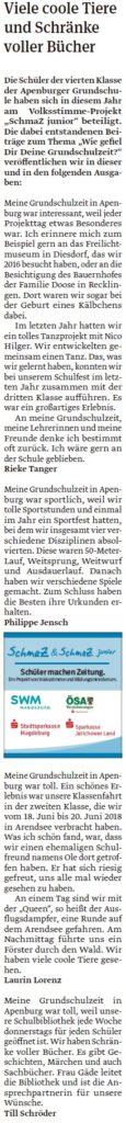 Die Viertklässler der Grundschule Apenburg haben eigene Artikel geschrieben. Ein Beitrag der Klötzer Volksstimme am 23.04.2020.