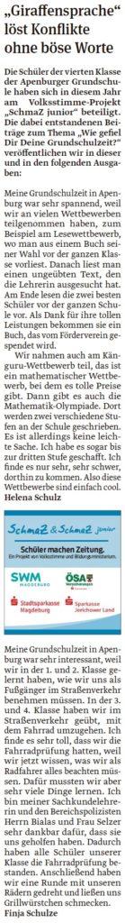 Die Viertklässler der Grundschule Apenburg haben eigene Artikel geschrieben. Ein Beitrag der Klötzer Volksstimme am 24.04.2020.