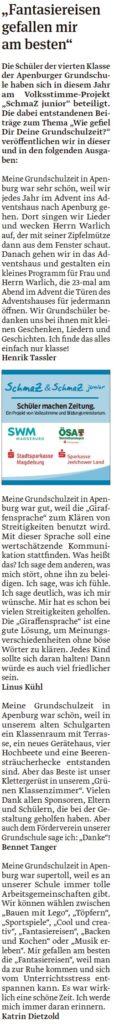 Artikel der vierten Klasse der Grundschule Apenburg. Ein Beitrag der Klötzer Volksstimme am 28.04.2020.