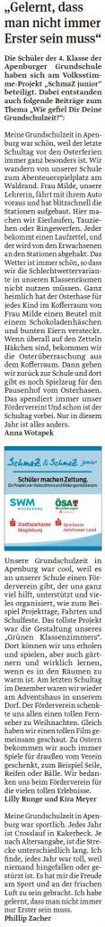 Artikel der vierten Klasse der Grundschule Apenburg. Ein Beitrag der Klötzer Volksstimme am 30.04.2020.