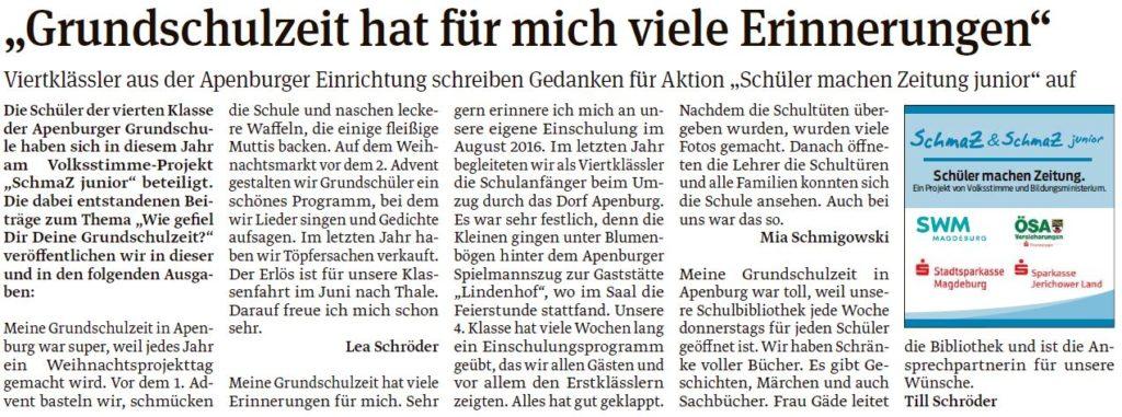 Artikel der vierten Klasse der Grundschule Apenburg. Ein Beitrag der Salzwedeler Volksstimme am 28.04.2020.