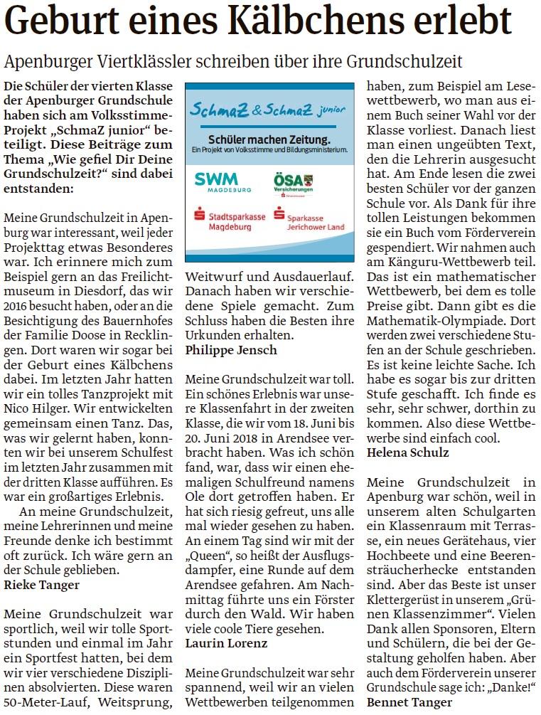 Artikel der vierten Klasse der Grundschule Apenburg. Ein Beitrag der Salzwedeler Volksstimme am 30.04.2020.