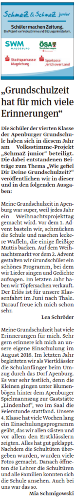 Die Viertklässler der Grundschule Apenburg haben eigene Artikel geschrieben. Ein Beitrag der Klötzer Volksstimme am 20.04.2020.