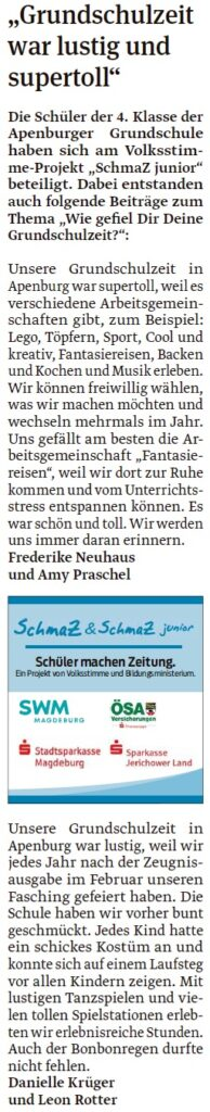 Artikel der vierten Klasse der Grundschule Apenburg. EIn Beitrag der Klötzer Volksstimme am 06.05.2020.