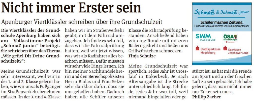 Artikel der vierten Klasse der Grundschule Apenburg. Ein Beitrag der Salzwedeler Volksstimme am 06.05.2020.