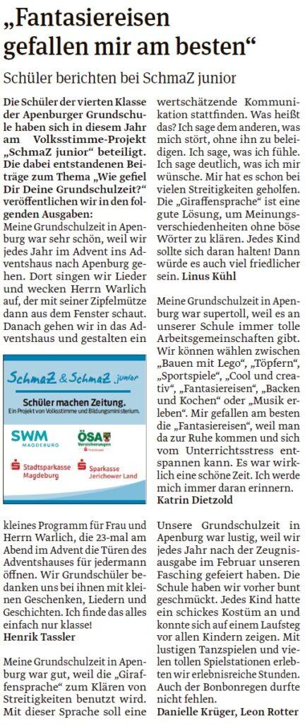 Artikel der vierten Klasse der Grundschule Apenburg. Ein Beitrag der Salzwedeler Volksstimme am 16.05.2020.