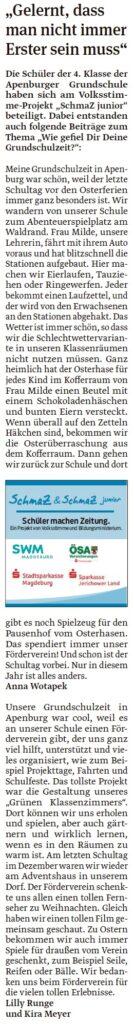 Artikel der vierten Klasse der Grundschule Apenburg. EIn Beitrag in der Salzwedeler Volksstimme am 18.05.2020.