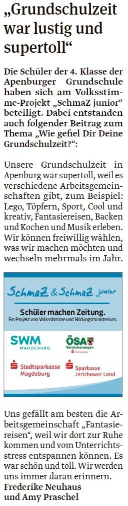Artikel der vierten Klasse der Grundschule Apenburg. Ein Beitrag in der Salzwedeler Volksstimme vom 19.05.2020.