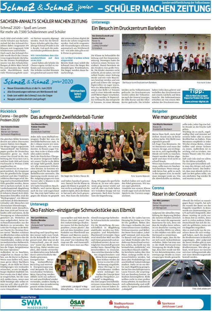 SchmaZ Sonderseite - veröffentlicht am 04.05.2020 in der Volksstimme.