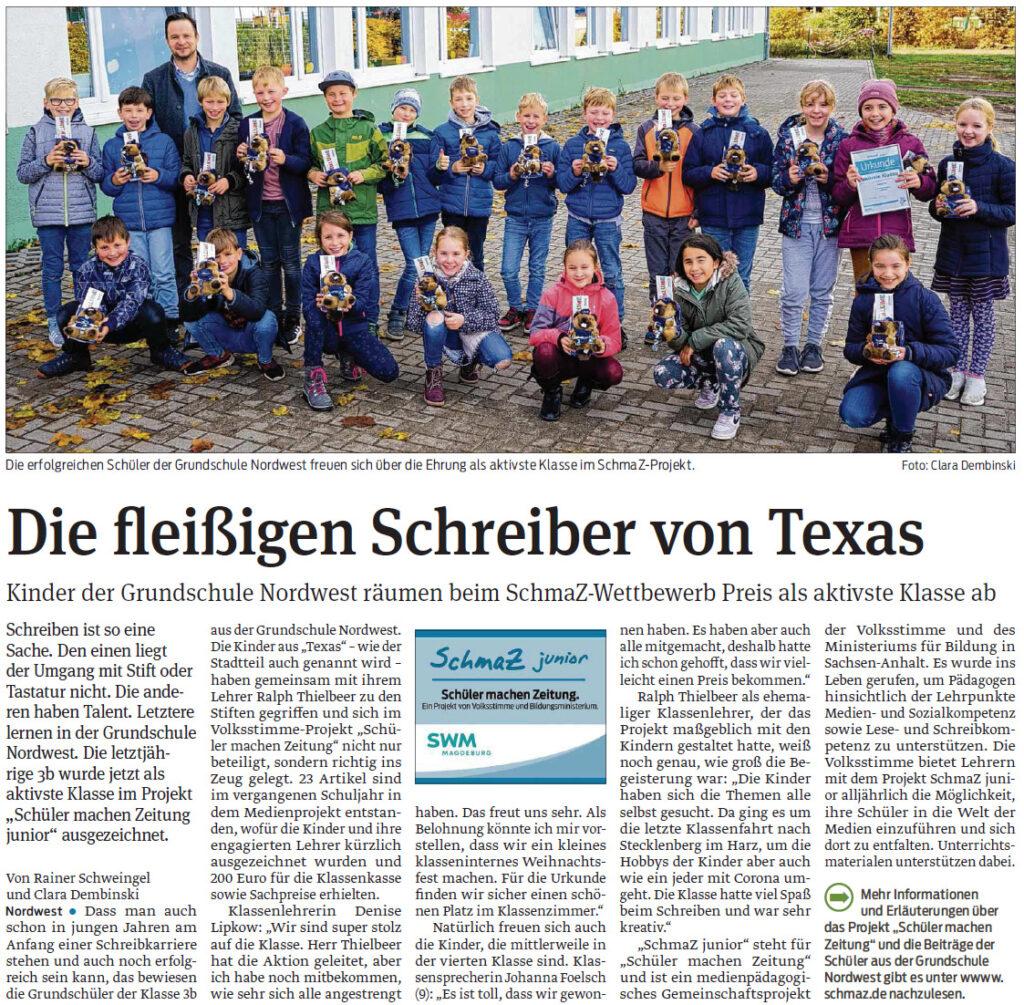 Die Kinder der Grundschule Nordwest räumen beim SchmaZ-Wettbewerb den Preis als aktivste Klasse ab. Magdeburger Volksstimme, 26.11.2020