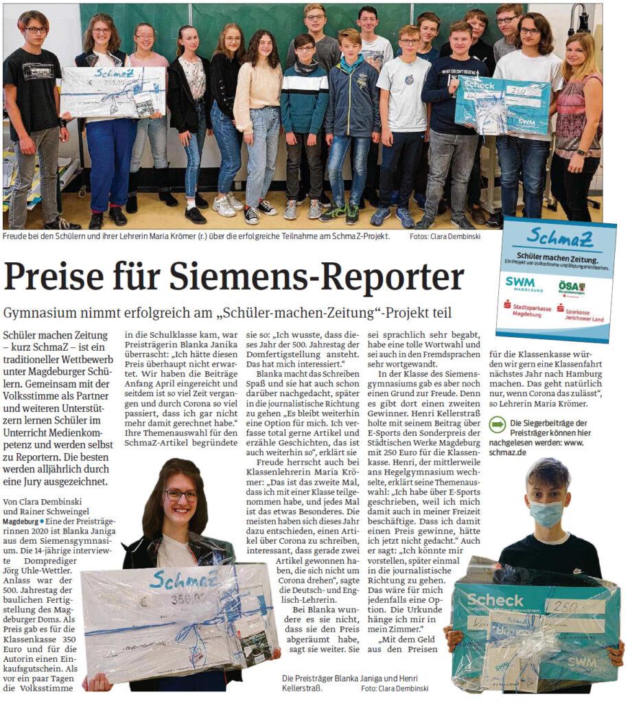 Blanka Janiga belegte den 1. Platz des SchmaZ-Wettbewerbes und Henri Kellerstraß gewann den Sonderpreis der SWM. Magdeburger Volksstimme, 24.11.2020