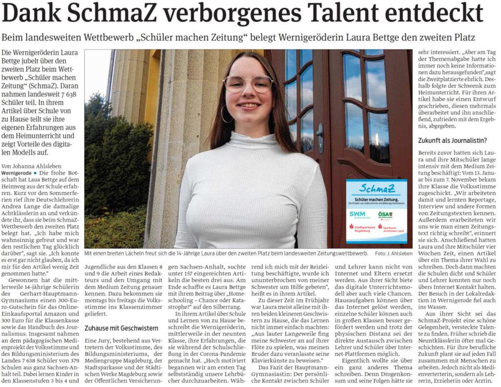 Die Wernigeröderin Laura Bettge hat den zweiten Platz beim SchmaZ-Wettbewerb 2019/2020 belegt. Harzer Volksstimme, 18.11.2020